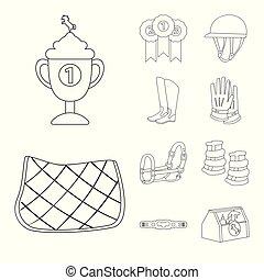 équestre, cheval, symbole., vecteur, collection, conception...