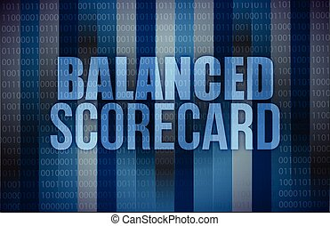 équilibré, carte score, affaires numériques, écran