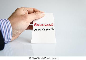 équilibré, carte score, concept, texte