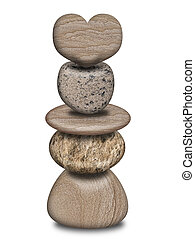 équilibré, coeur, pile, rochers
