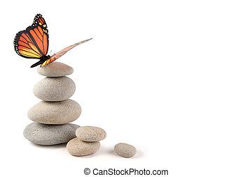 équilibré, papillon, pierres