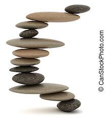 équilibré, pierre, blanc, sur, tour