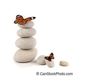 équilibré, pierres, papillons