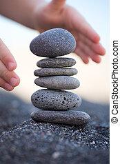 équilibré, pierres