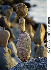 équilibré, rochers