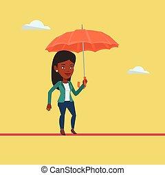 équilibrage, femme, tightrope., business, risqué