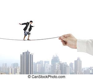 équilibrage, homme, corde