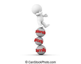 équilibrage, homme, famille, travail, 3d