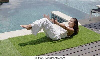 équilibrage, yoga, côte, calme, contre, asana, poolside, ...