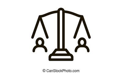 équilibre, balances, icône, droits, huma, animation