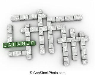 équilibre, concept, mot, nuage, 3d