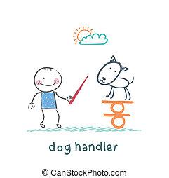 équilibre, enseigne, chien, canin, garder