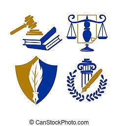 équilibre, ensemble, livre, justice, vecteur, conception, firme, droit & loi, logo, bouclier