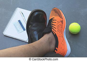 équilibre, exercice, business, moitié, shoes., vue, sport, sommet, travail, vie, concept