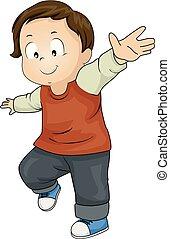 équilibre, garçon, enfantqui commence à marcher, illustration