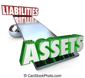 équilibre, liabilities, échelle, biens, possessions, obligations, dettes, valeur, ton, ou, total, investissements, filet, balançoir, moins, illustrer