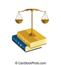 équilibre, livres, droit & loi, icône