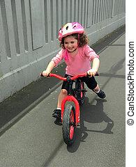 équilibre, peu, vélo, promenades, girl
