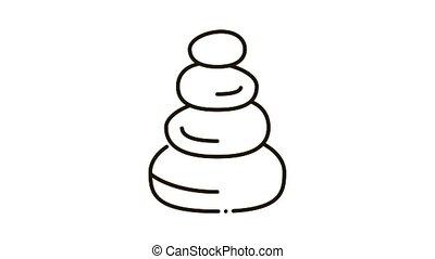 équilibre, pierres, animation, icône