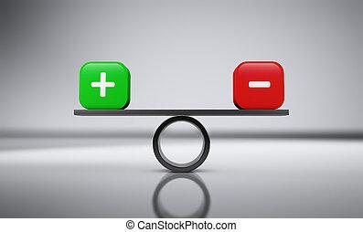 équilibre, plus, moins, business