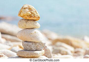 équilibre, rochers