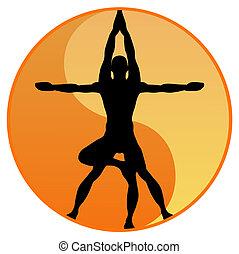 équilibre, vecteur, yoga