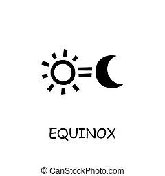 équinoxe, plat, icône, vecteur