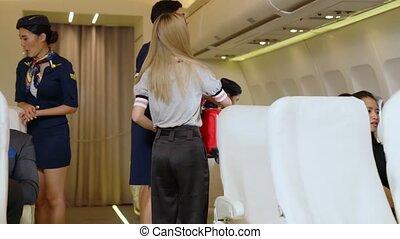 équipage, ascenseur, bagage, sac, avion