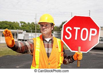équipage, construction, stop