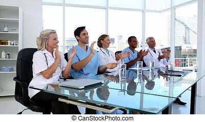 équipe, applaudir, monde médical
