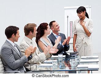 équipe, applaudir, présentation, collègue affaires, sourire, donner, après