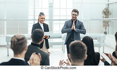 équipe, applaudir, réunion affaires, travail