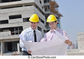 équipe, architectes, site, construciton
