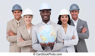 équipe, architectural, globe, tenue, terrestre