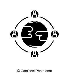 équipe, arrière-plan noir, engagement, icône, blanc, work., global