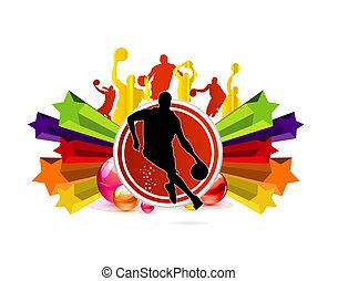 équipe, basket-ball, sport, signe
