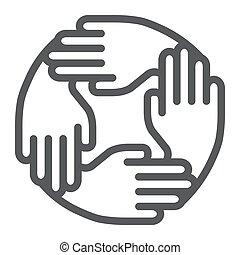 équipe, blanc, eps, fond, collaboration, affaires signent, vecteur, graphiques, linéaire, modèle ligne, 10., association, icône