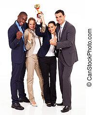 équipe, business, concurrence, enjôleur