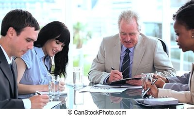 équipe, business, fonctionnement, documents, sérieux