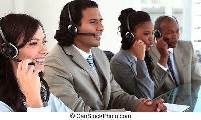 équipe, business, fonctionnement, ecouteurs, heureux