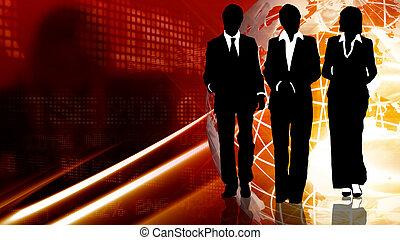 équipe, business, fonctionnement, unisson, ensemble, jeune