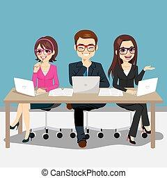 équipe, business, séance