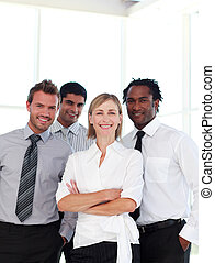 équipe, business, sourire, appareil photo, international