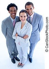 équipe, business, sourire, haut angle