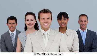 équipe, business, sourire, multi-ethnique, heureux