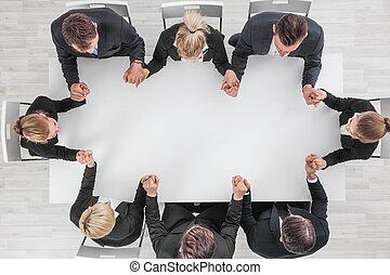 équipe, business, tenant mains
