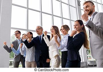 équipe, célébrer, bureau, reussite, business, heureux