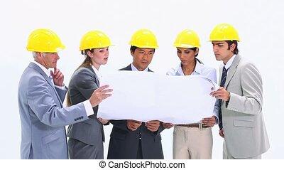 équipe, casque, business, sécurité, porter