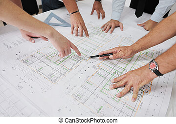 équipe, de, architectes, sur, site construction
