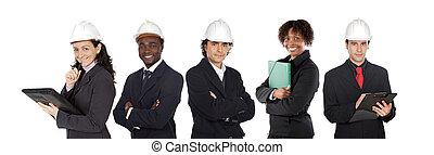 équipe, de, cinq, architectes